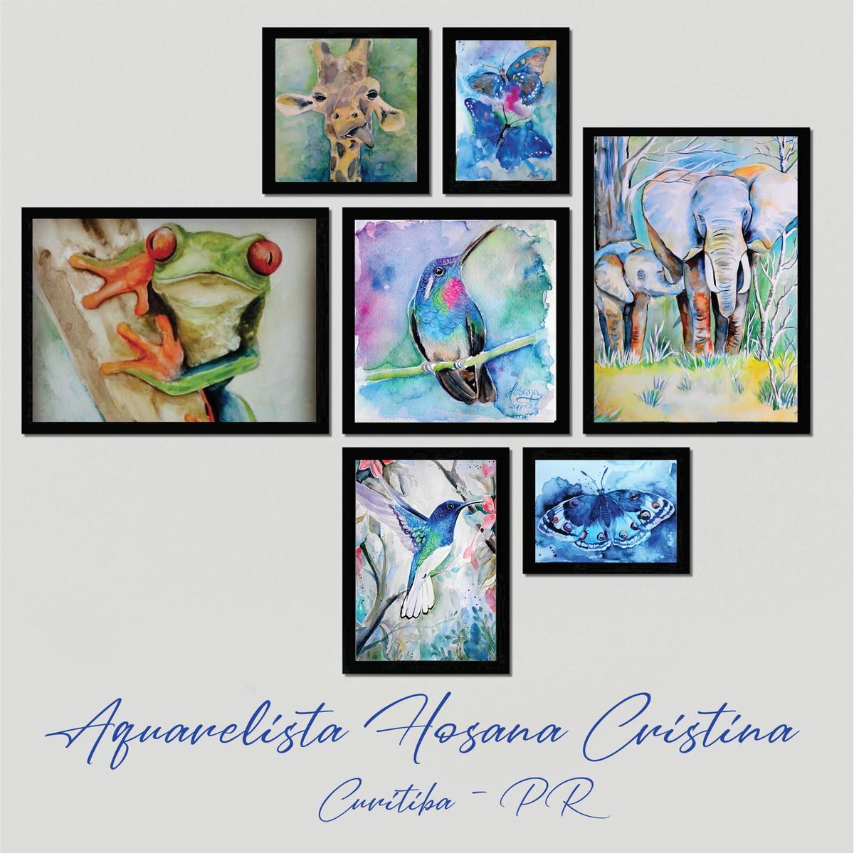 7 Gravuras De Aquarela Animais Com Moldura No Elo7 Pinturas Em