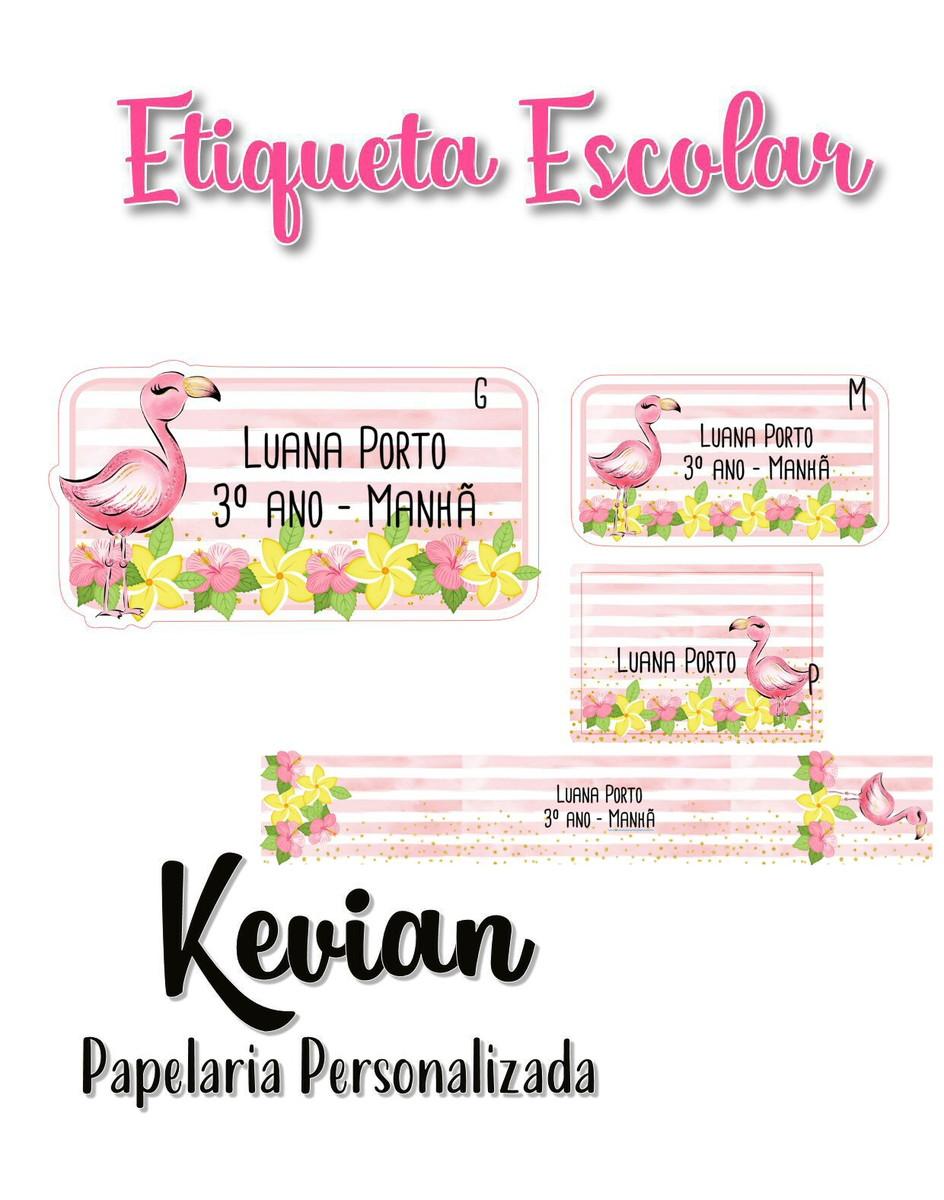 Etiqueta Escolar Flamingo Kit 3 No Elo7 Kevian Papelaria