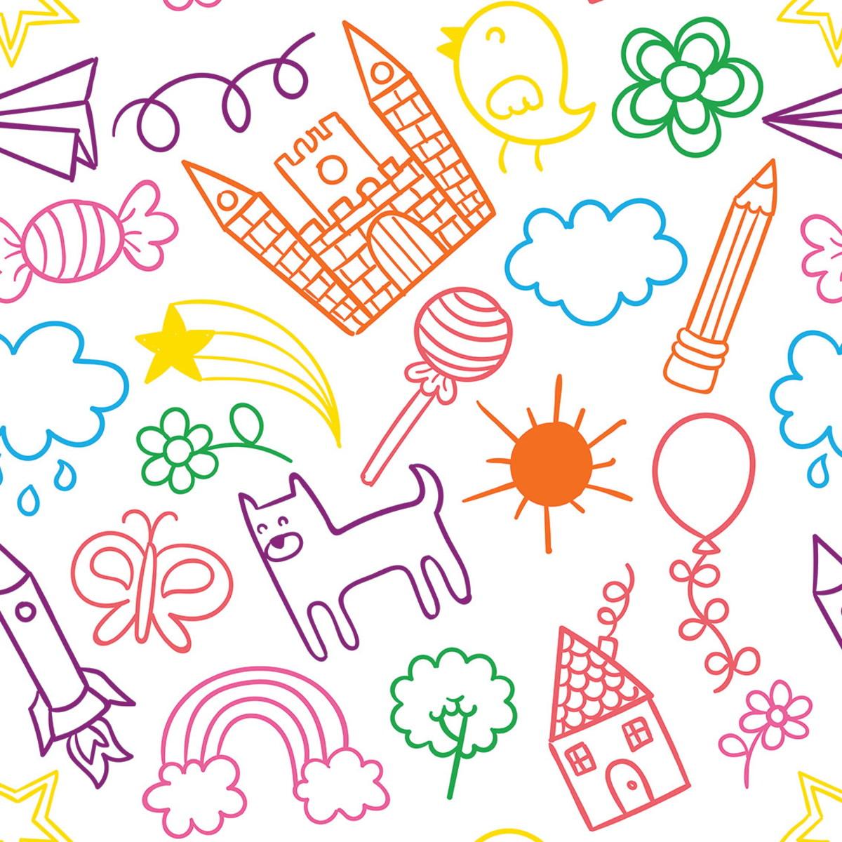 Papel De Parede Infantil Colorido Desenhos Criancas Ssin 007 No