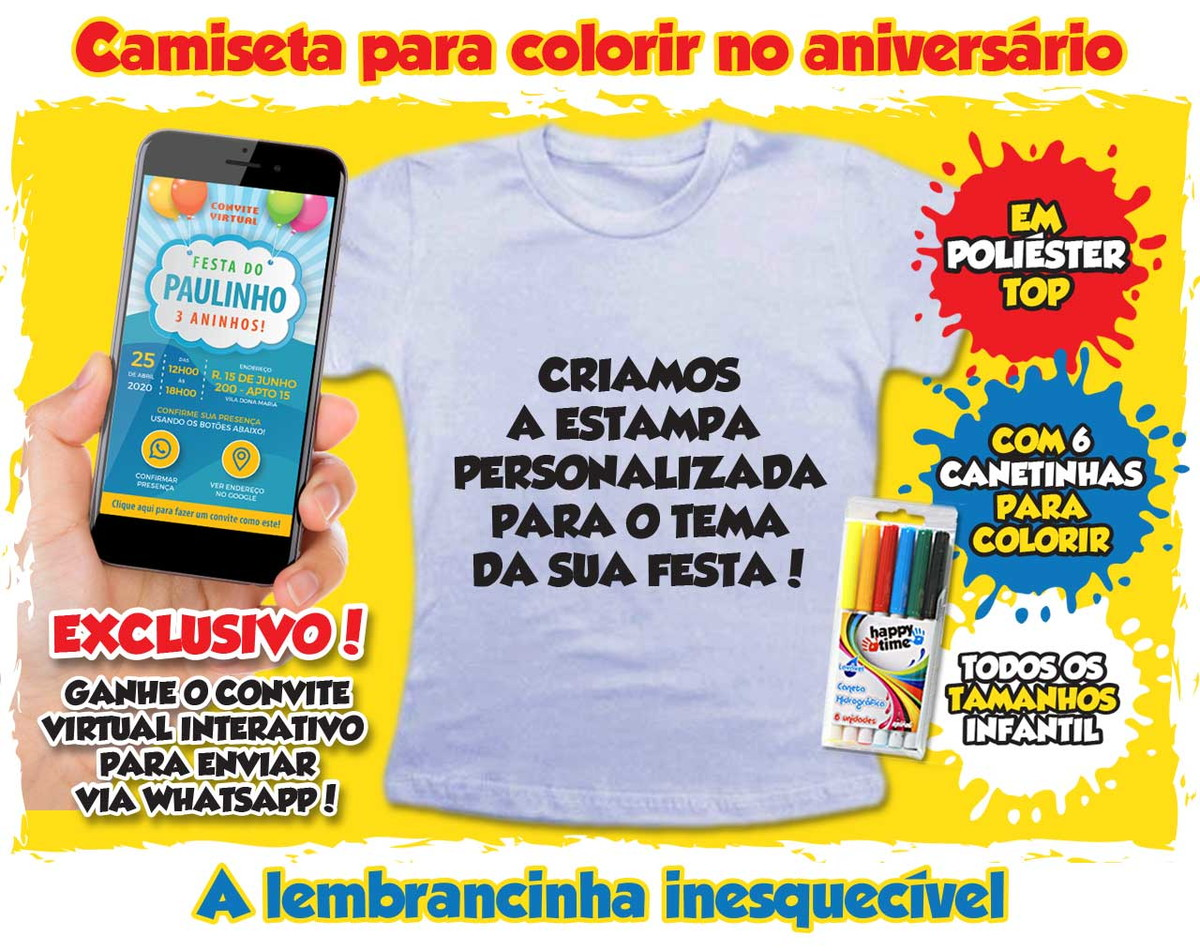 Lembrancinha De Aniversario Camiseta P Colorir Personalizada No