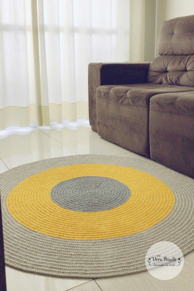 Image of: Tapete De Croche Cinza E Amarelo Decoracao Sala No Elo7 Atelie Vera Peixoto 115d49b