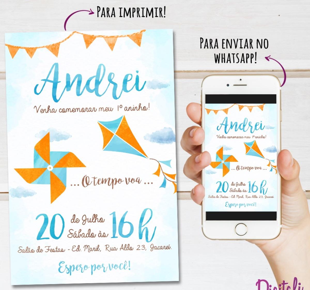 Convite Pipa E Catavento Azul Laranja Aquarela Arte Digital No