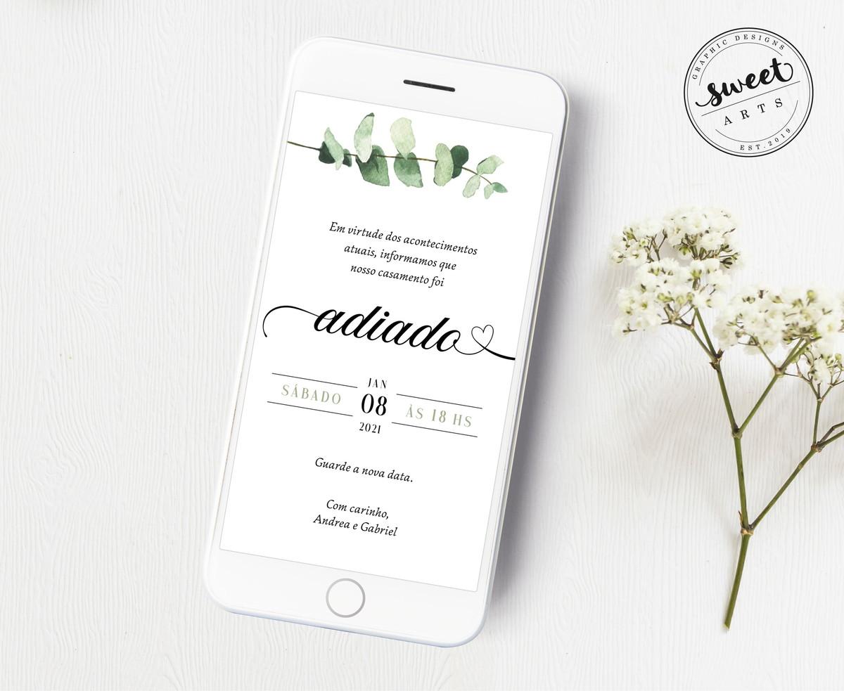 Aviso Alteração Data Casamento Evento Digital Para Celular no Elo7 ...