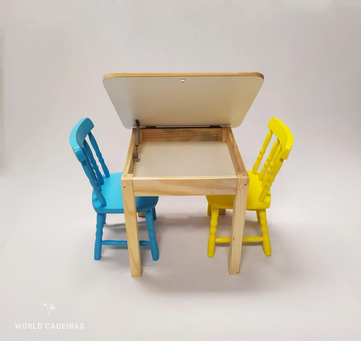 Image of: Mesa Infantil Bau 2 Cadeira Madeira Pintura Laqueadas Forte No Elo7 World Cadeiras 12c8947