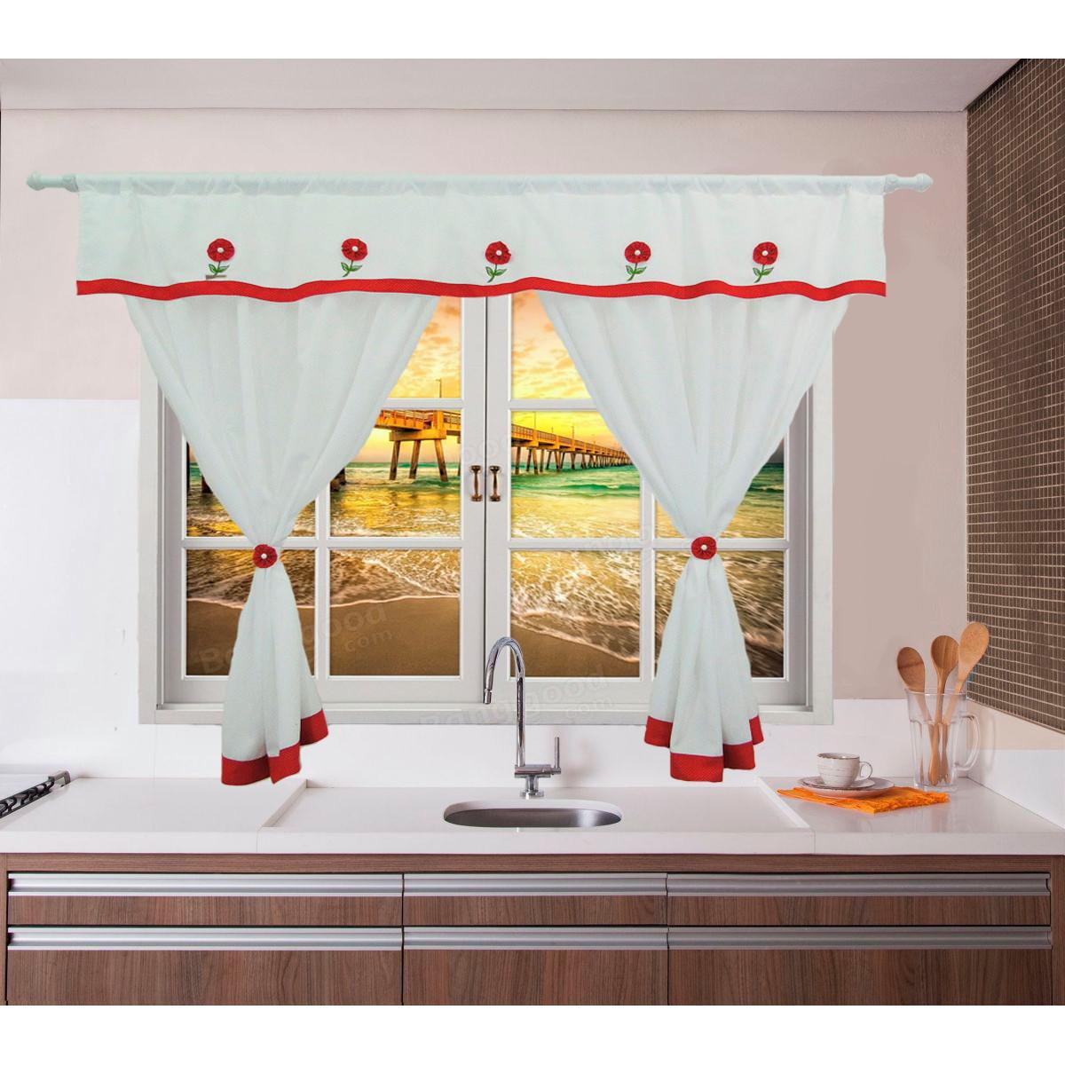 Image of: Cortina Cozinha Flower C Bando 200 M Lx120 M A Poa Vermelho No Elo7 Flor D Liza Cortinas 136267e