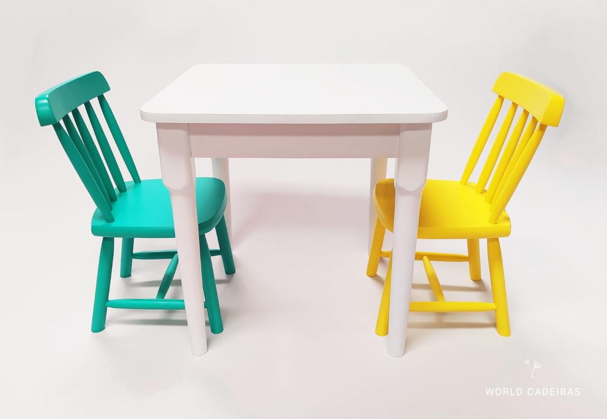 Image of: Mesa Infantil 2 Cadeira Madeira Resistente Colorida 120 Dm No Elo7 World Cadeiras F9ddc0