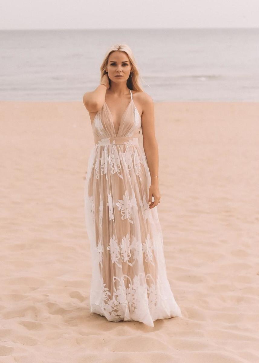 Vestido Noiva Tule Bordado c/ Nude Boho Ensaio Pré Wedding