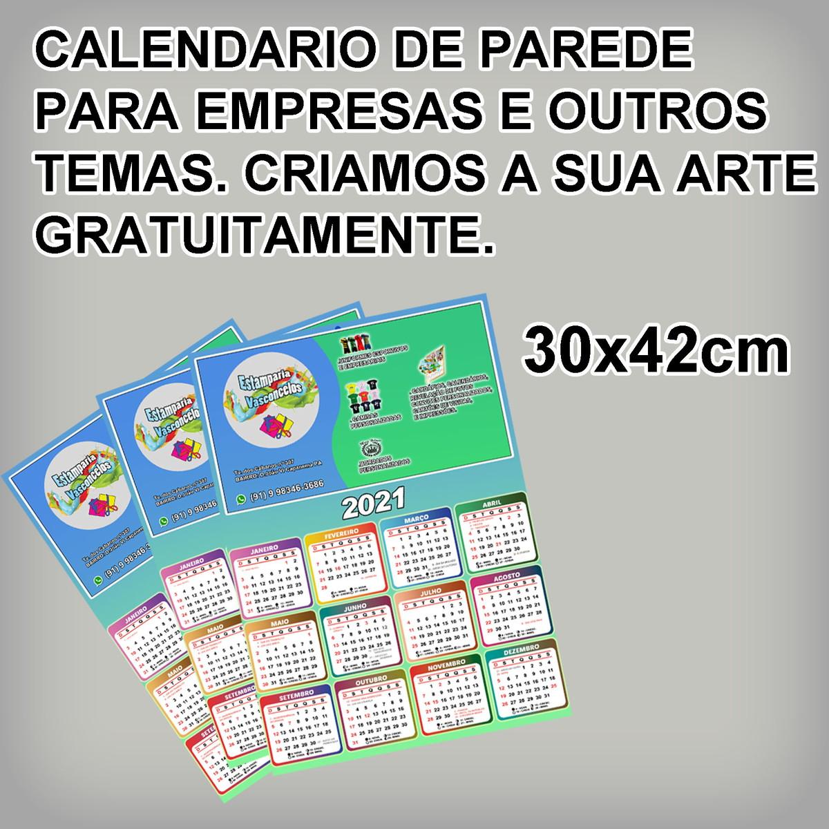 cem calendários 2021 logomarca ou temas de aniversários no