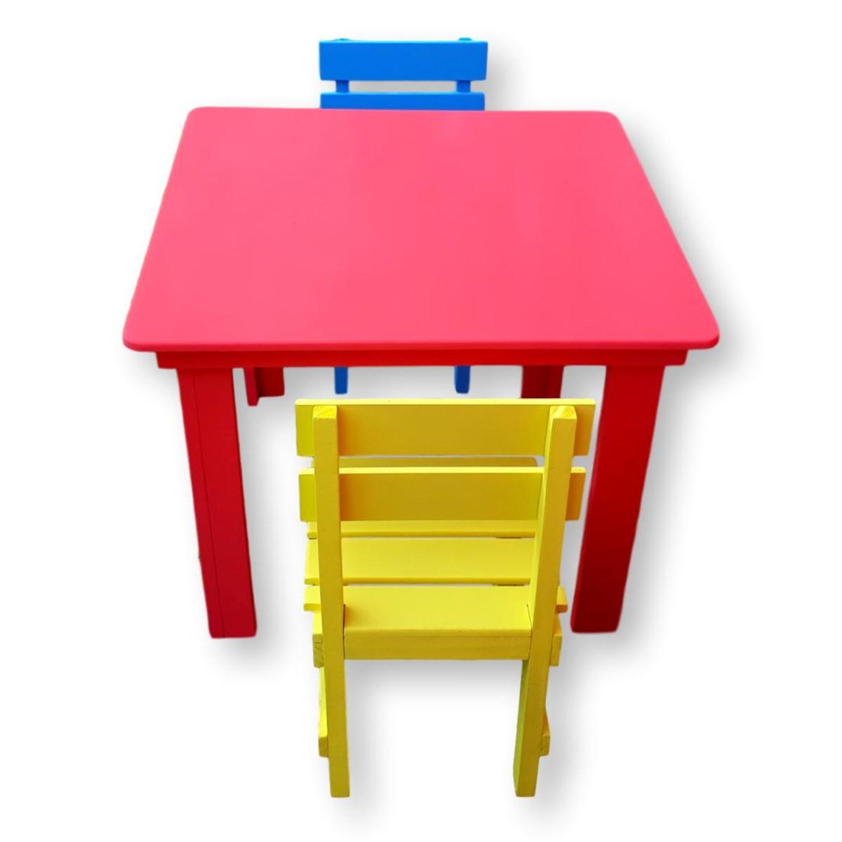Image of: Conjunto Mesa Mesinha Infantil 2 Cadeiras Madeira Coloridas No Elo7 Luciano Dziado 1033b47