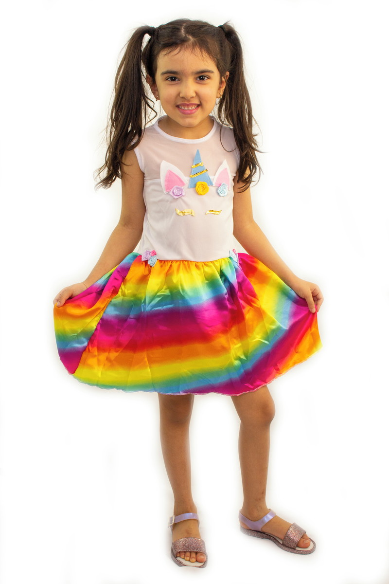 Fantasia Infantil Unicornio Vestido Feminino Colorido Luxo No Elo7 Clube Das Fantasias 1414d23