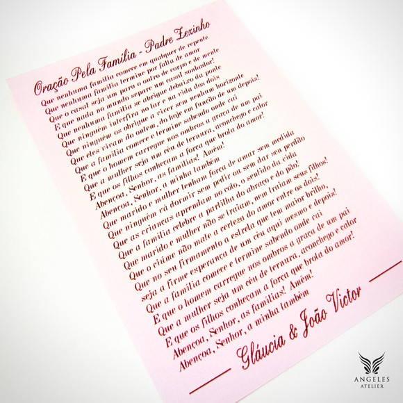 Pergaminho Casamento Oração da Família | Angeles Atelier ...
