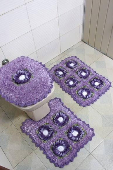 jogo de banheiro com felpudinho lilas  Patricia crochetando  Elo7 -> Decoracao Banheiro Lilas
