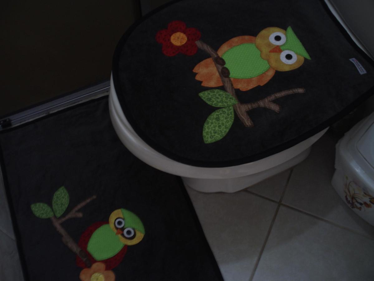 jogo de banheiro corujinhas 04 pc jogo de banheiro corujinhas 04 pc #614126 1200x900 Banheiro Com Vaso Cinza