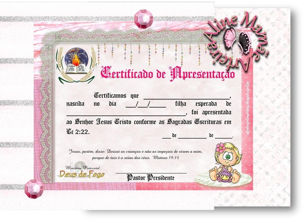 Mensagem De Apresentação De Bebe Na Igreja: Certificado De Apresentação MENINA
