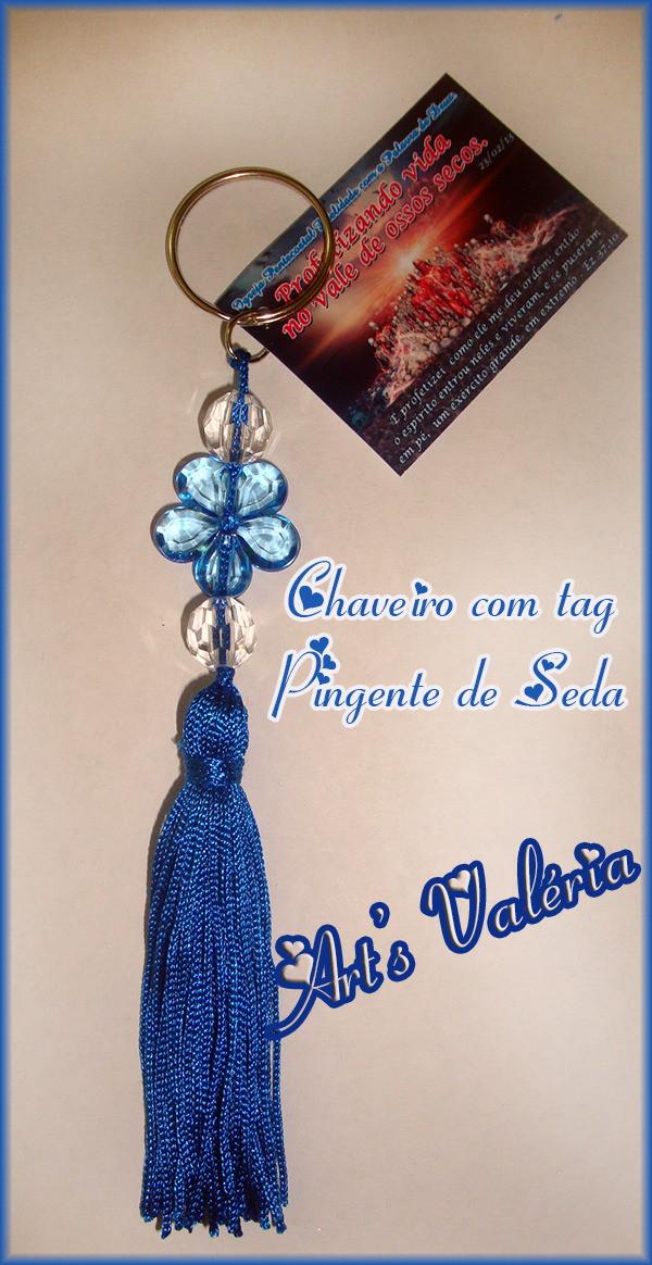 Chaveiro Pingente Franja de Seda e Tag no Elo7   Arts Valeria ... ae78afb4fa