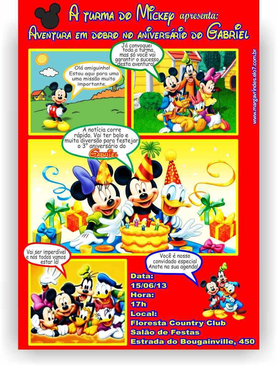 Turma Do Mickey Convite Gibi