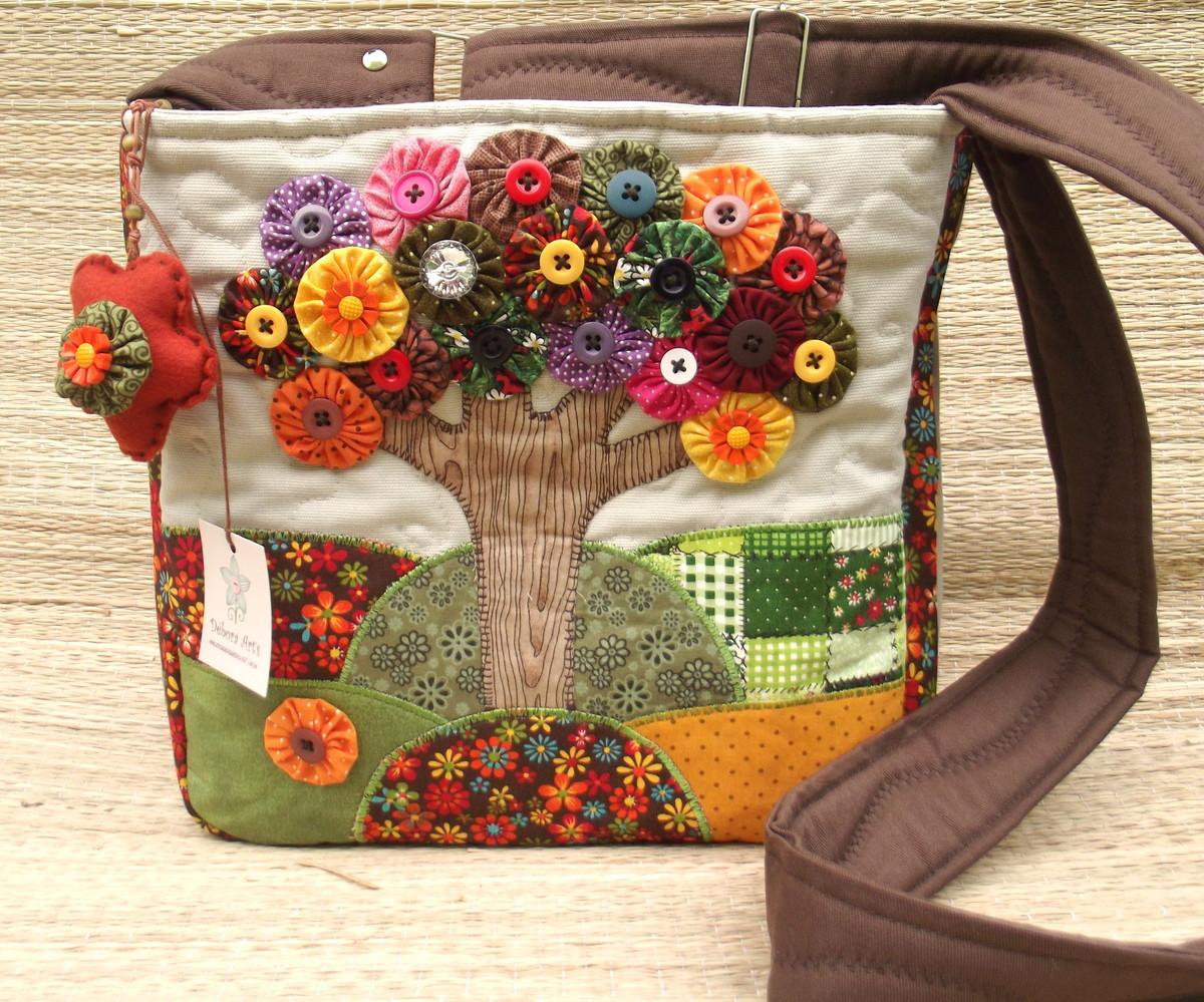 953701446 Bolsa Árvore de Fuxicos Transversal no Elo7 | Débora Art's (322F5A)