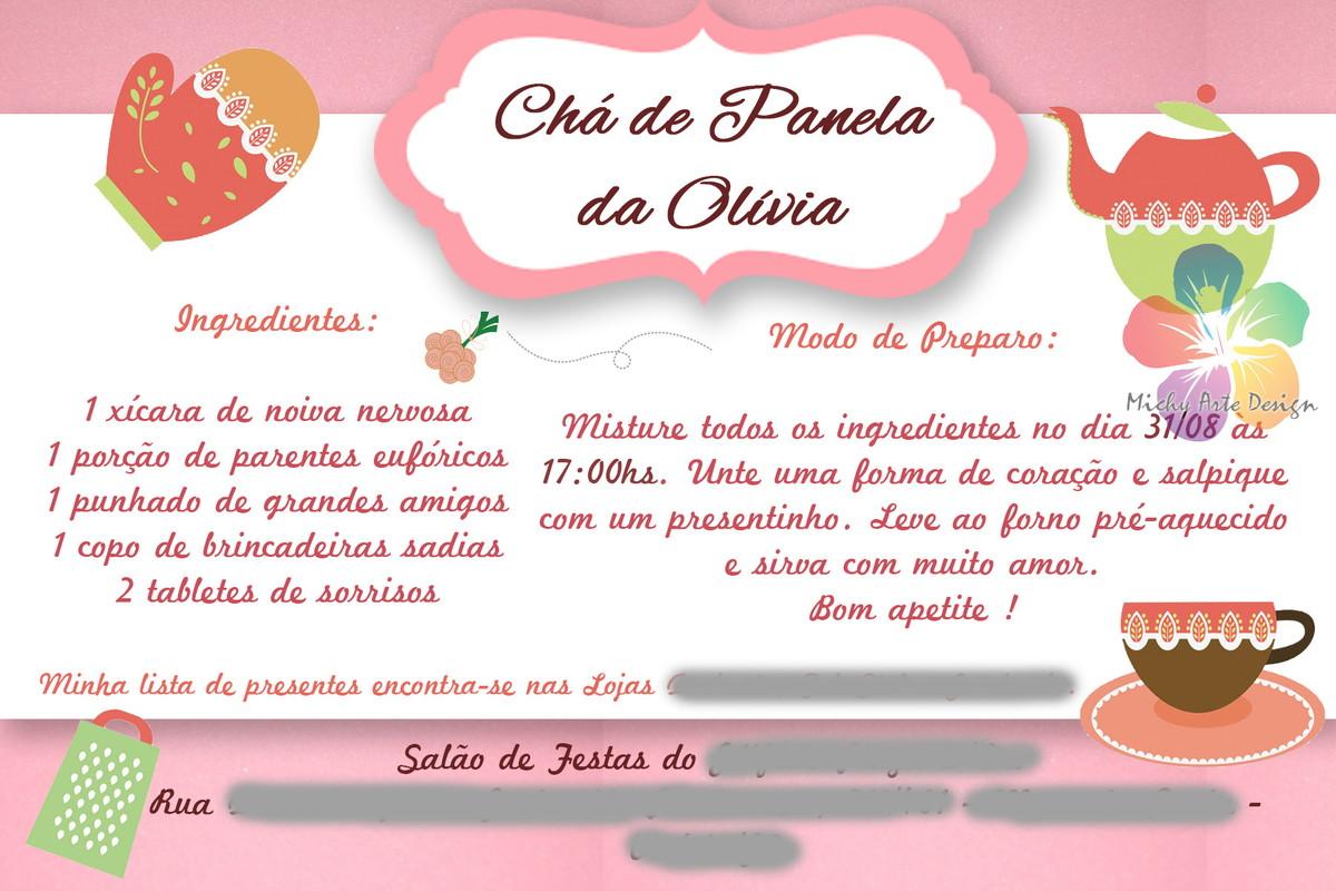 Convite Chá de Panela/Cozinha Digital Michy Arte Design Elo7 #AE311D 1200 800