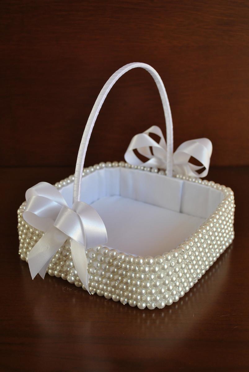 Cesta florista em p rolas no elo7 belissima noivas - Como adornar cestas de mimbre ...