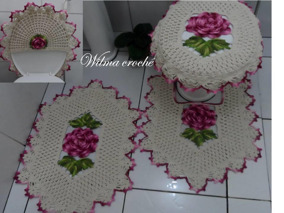 Jogo de banheiro com rosas e folhas  Wilma CrochêCom  Elo7 -> Jogo Para Pia De Banheiro