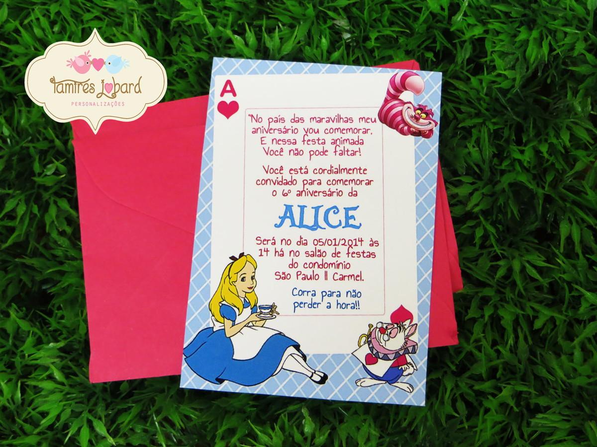 Convite Alice No Pais Das Maravilhas No Elo7 Creative Paper Por