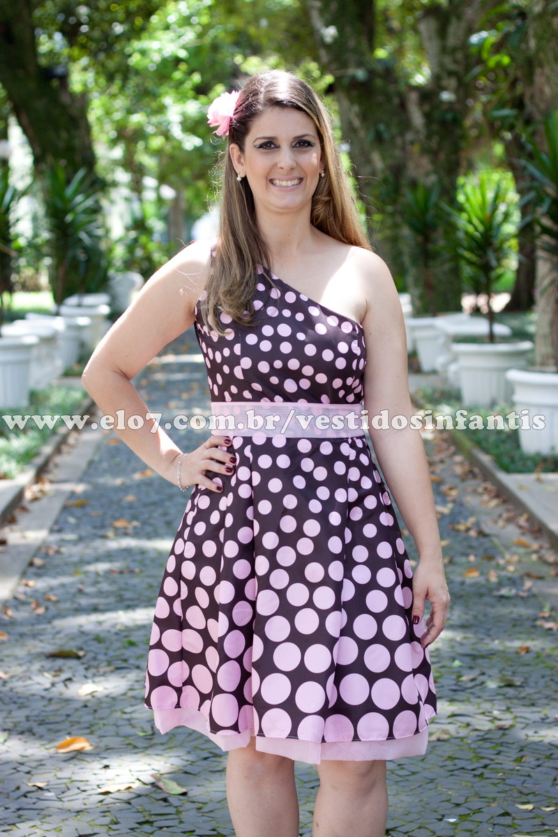012e856f41 Vestido adulto Marrom com rosa Alça Únic no Elo7