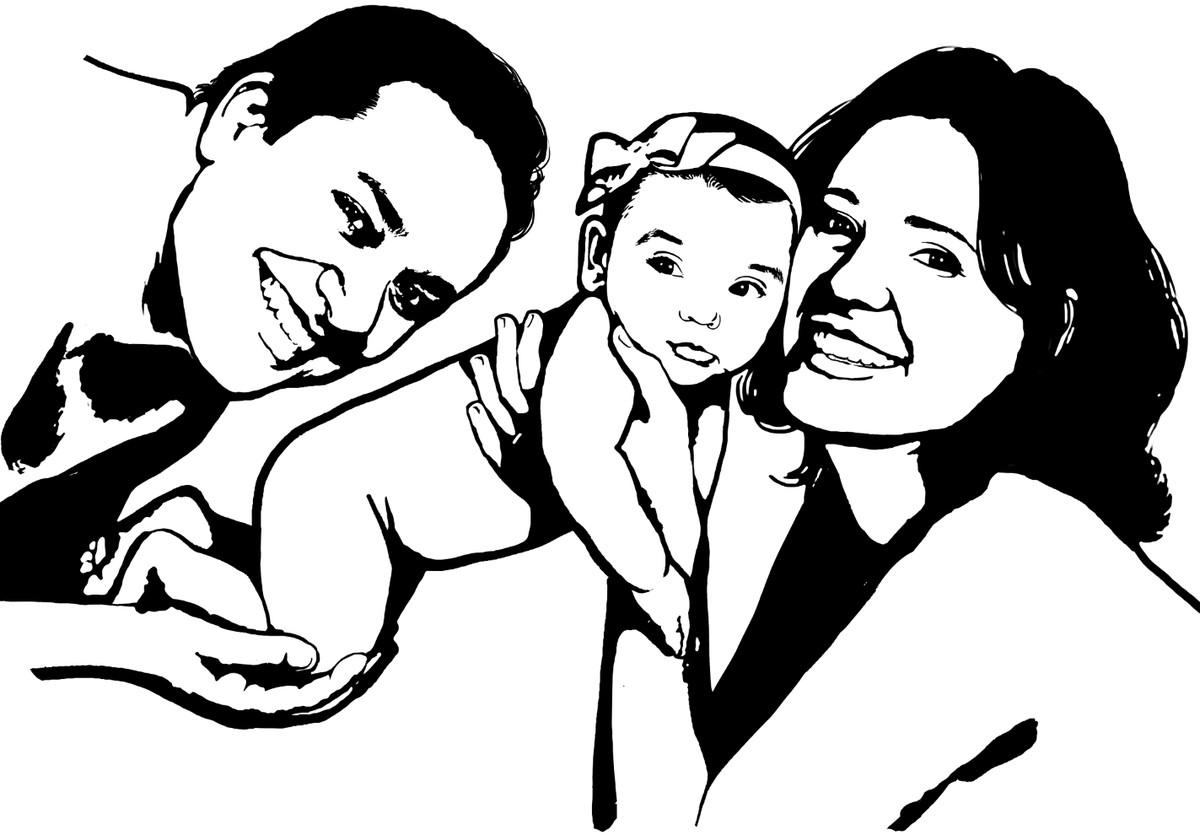 Lindo Desenho Digital Familia Pai Mae Filha Corel No Elo7 Joao