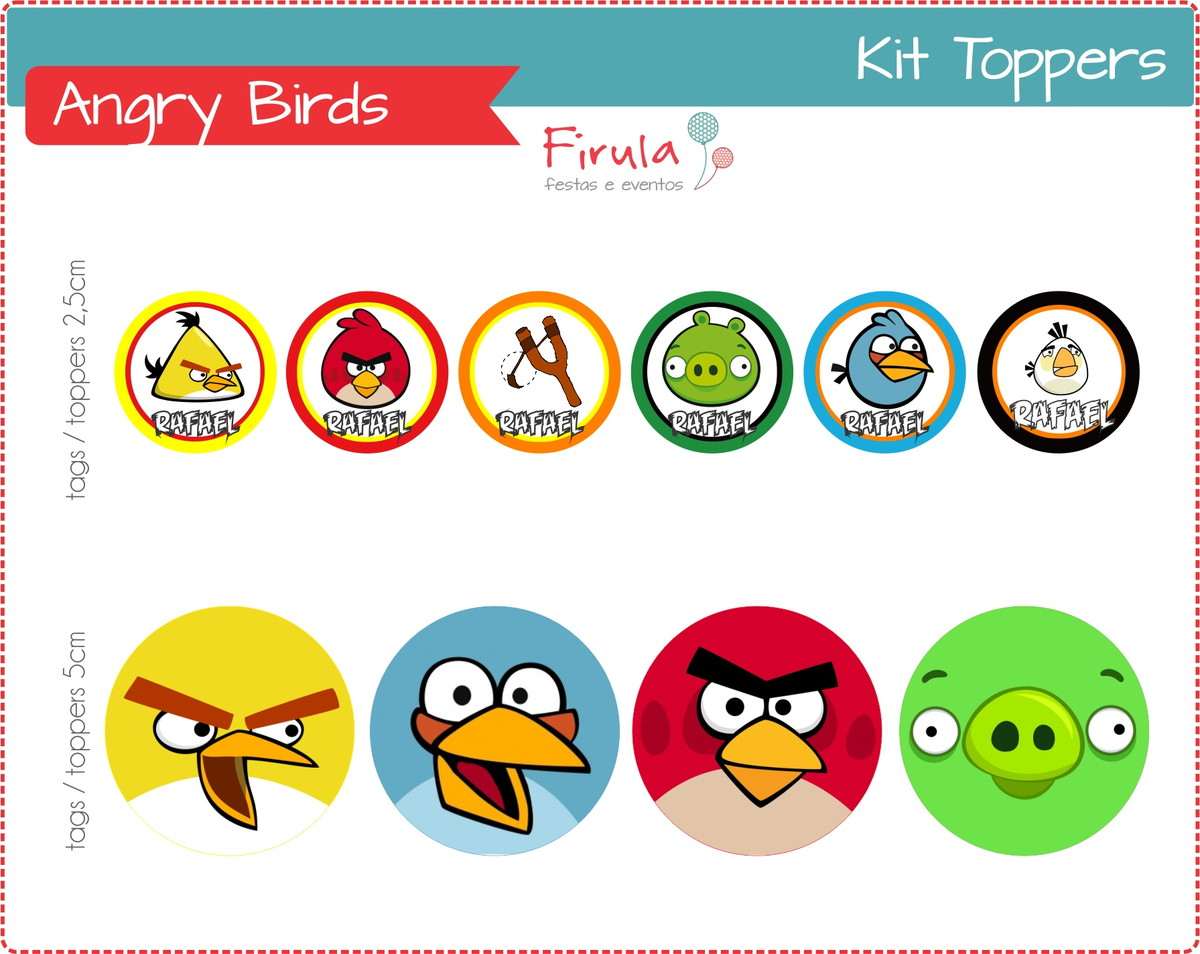 Toppers Personagens Angry Birds: Kit Digital Toppers / Tags Angry Birds No Elo7
