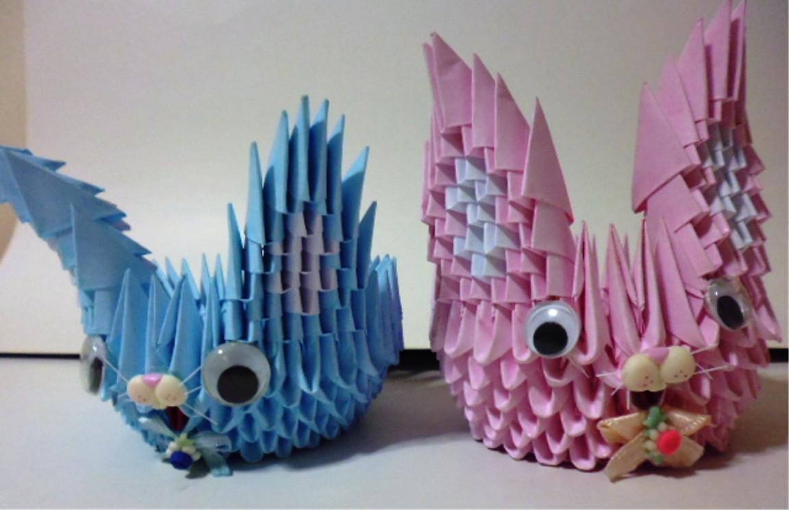 Artesanato De Palha Historia ~ (01) Coelho Origami Modular 3D Artes da Yone Elo7