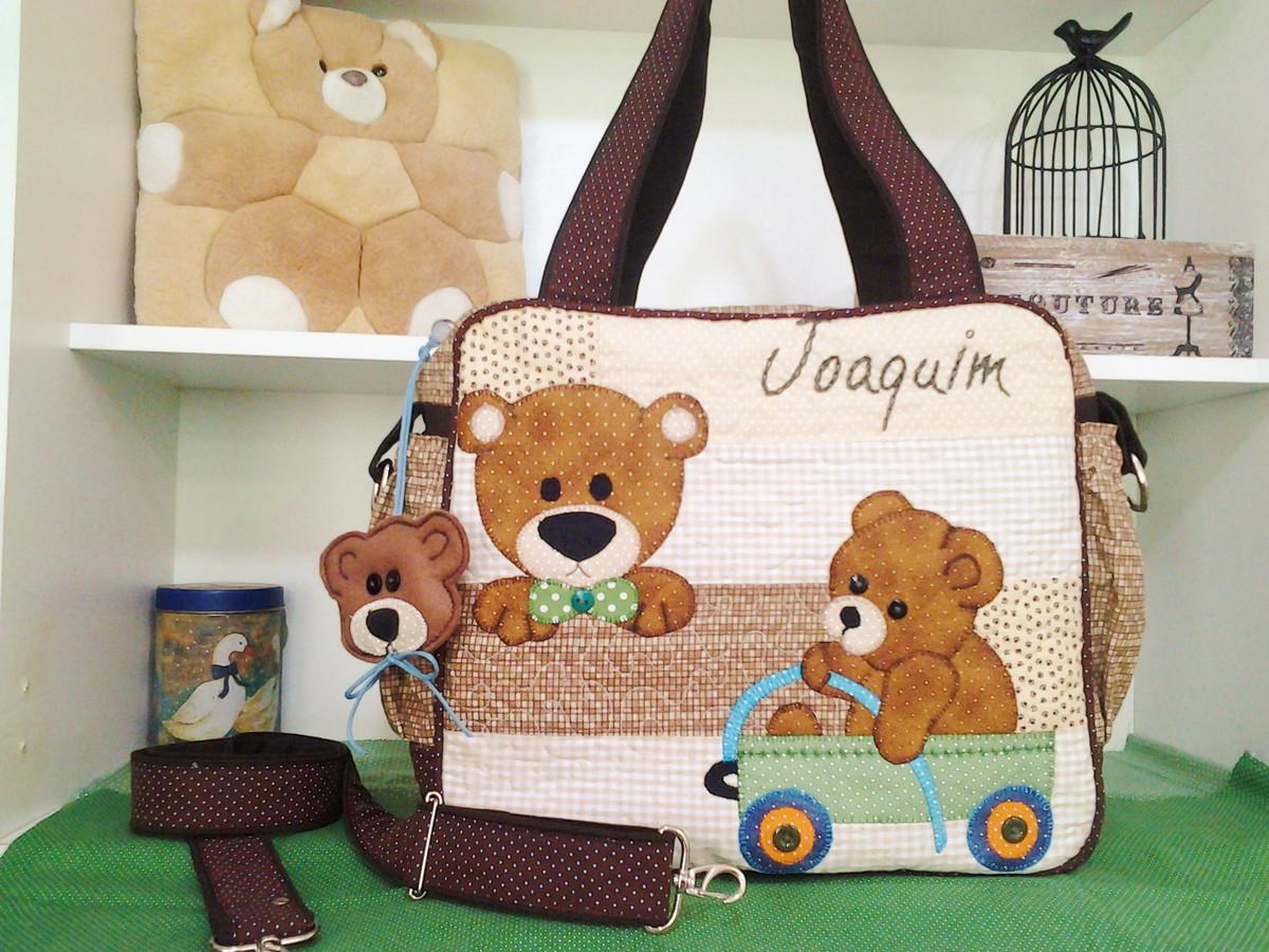 Bolsa De Tecido Quiltada : Bolsa maternidade ursos d?bora art s elo