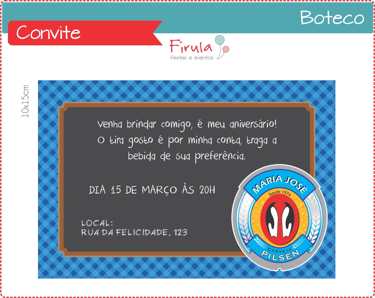 Convite Digital Boteco Azul No Elo7 Firula Festas 339e7d