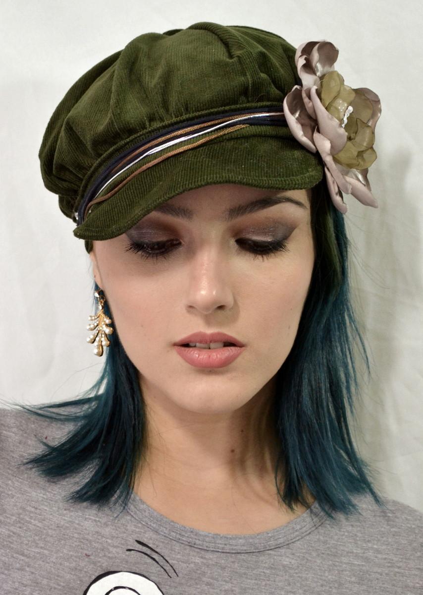 Boina Verde com Flor e Headband no Elo7  bf1ca10a6b1