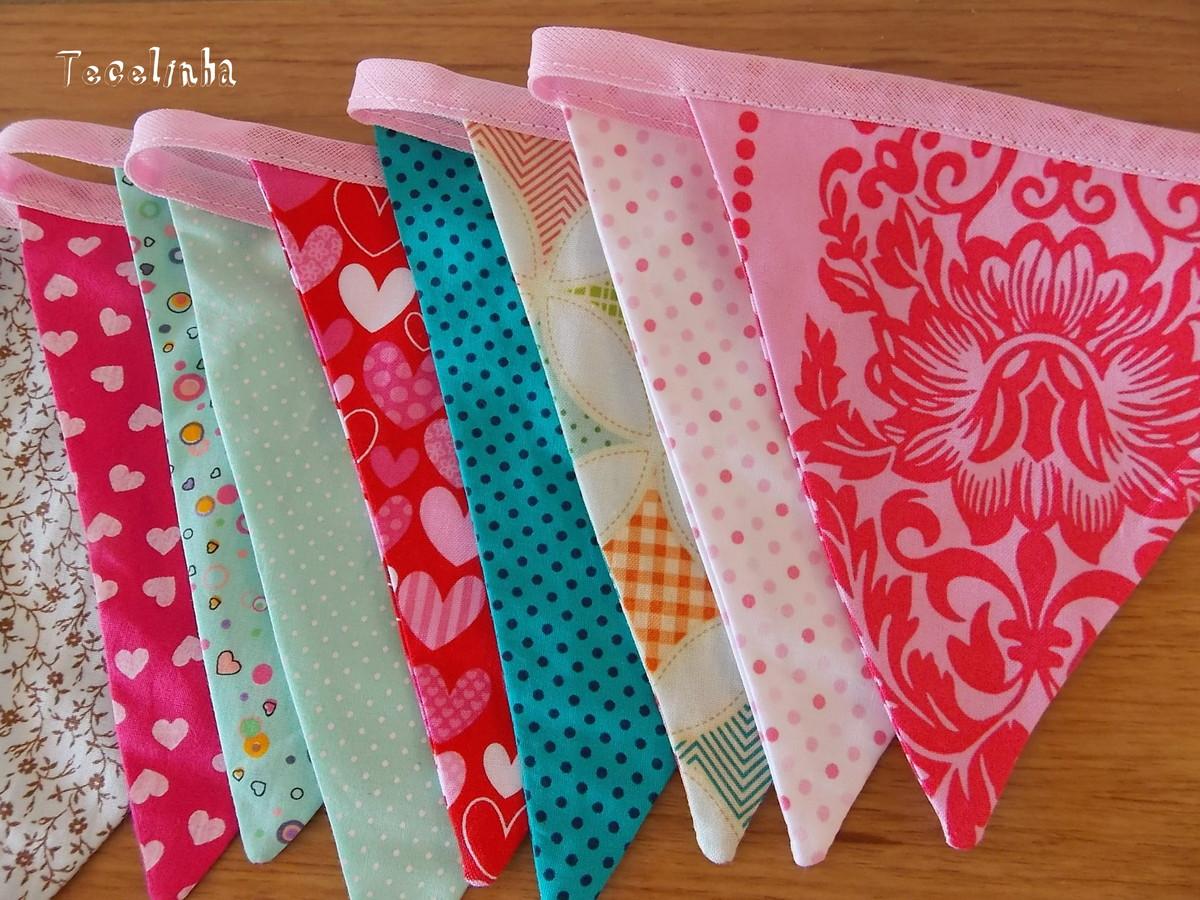 Bandeirinhas 2 fiozinhos Tecelinha Elo7 ~ Quarto Rosa E Turqueza