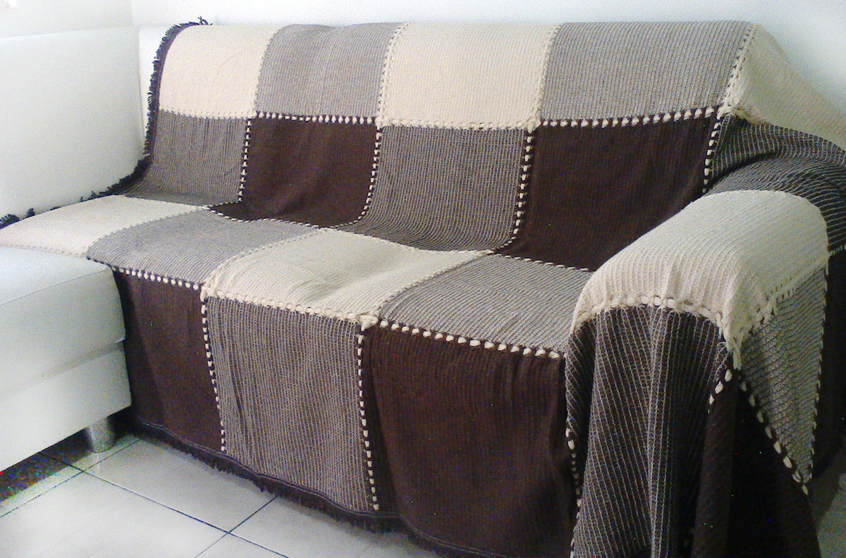Manta extra big para sof marron no elo7 artesanato for Mantas sofa