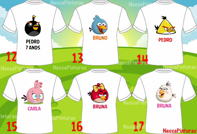 Personagem Angry Birds: Camiseta Angry Birds Adulto/ Infantil