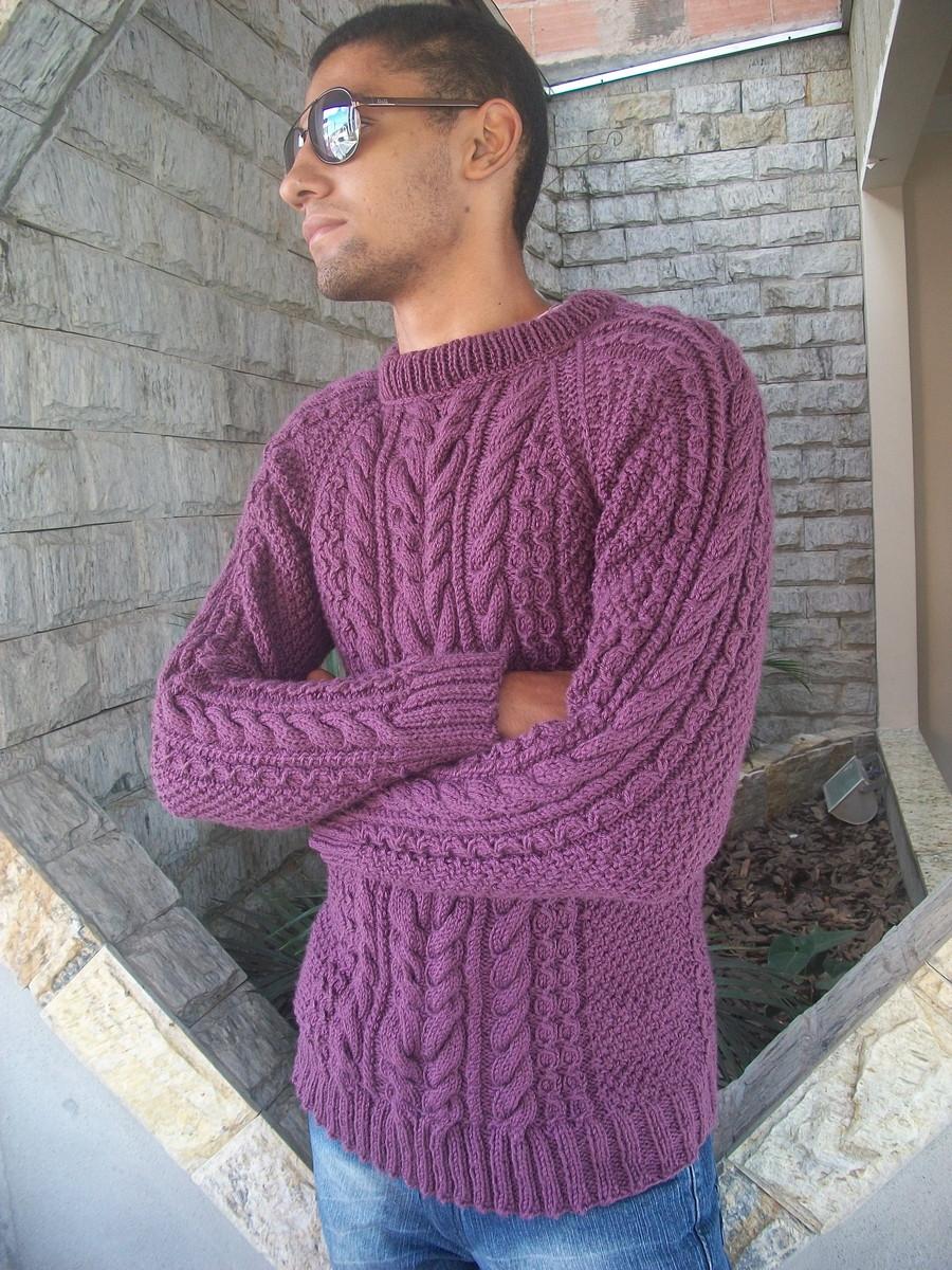 45d231516f Blusa de trico masculina vinho no Elo7