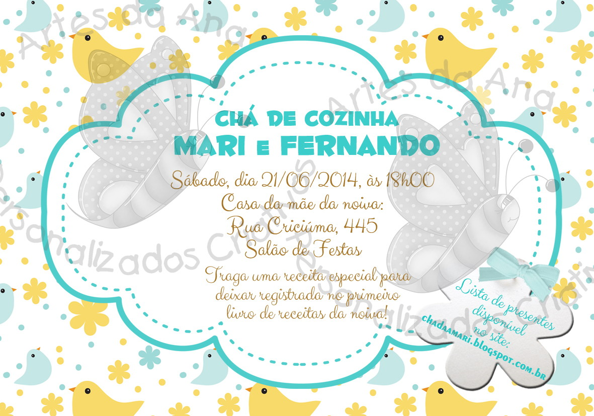 Convite Ch De Panela No Elo7 Artes Da Ana Personalizados