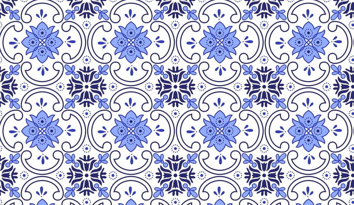tc333 tecido azulejo azul no elo7
