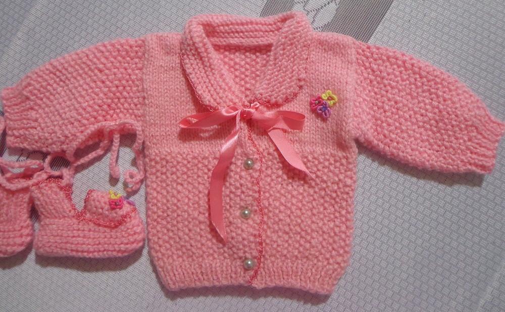Casaquinho em tricô à mão p bebê(2 meses no Elo7   Roupas de bebê ... 1fda9e9bd3
