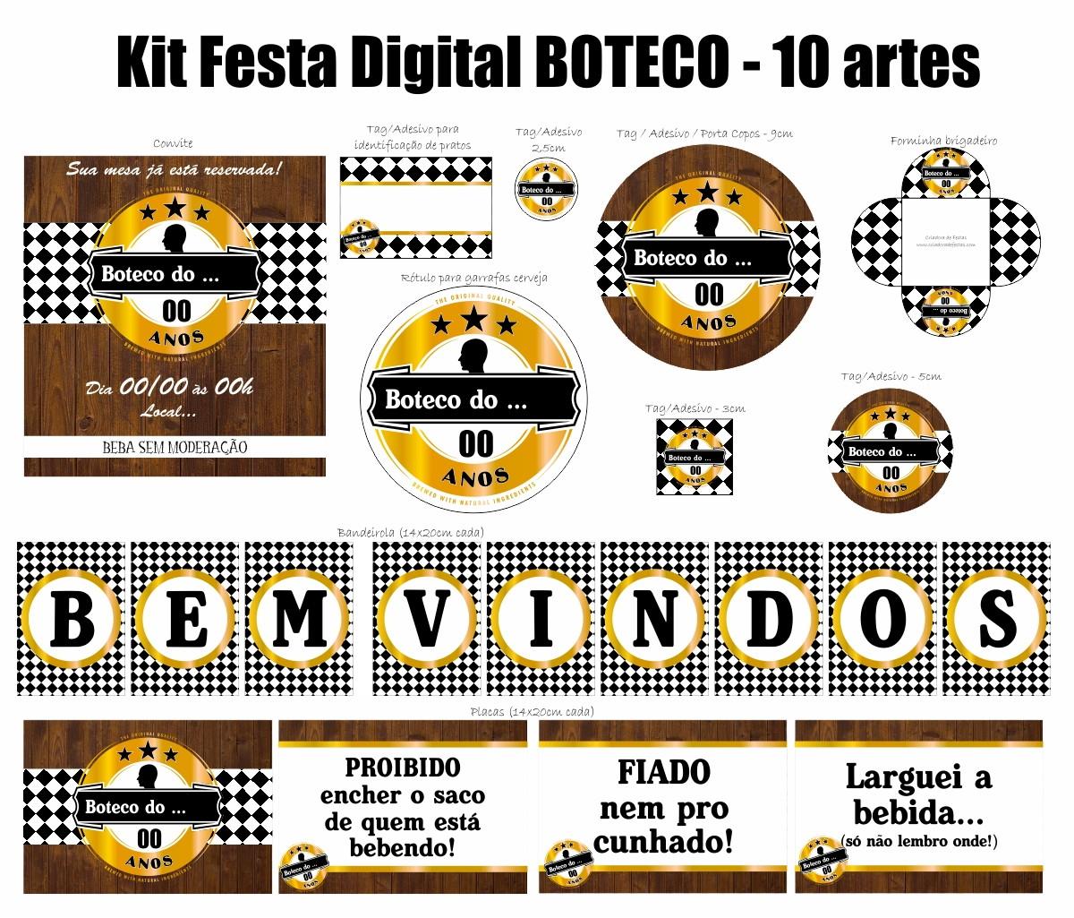 Artesanato Passo A Passo Com Cd ~ Kit Festa Digital Boteco Dourado Criadora de Festas