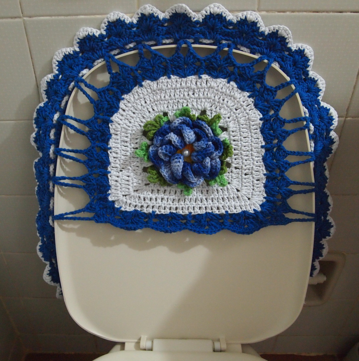 Jogo De Banheiro Verde E Branco : Jogo de banheiro branco azul?o croches da elsa elo