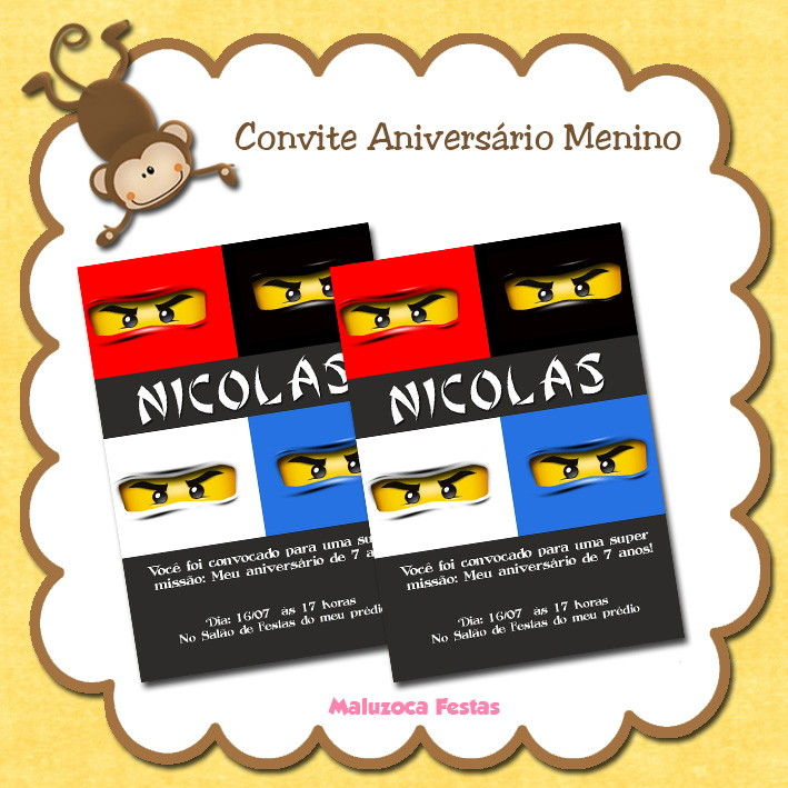 Convite Lego Ninjago No Elo7 Maluzoca Festas 4259c8