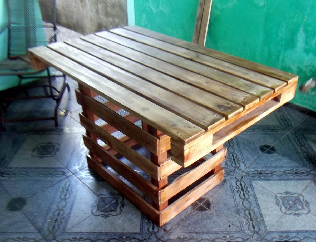 Mesa de pallets objetos e tramas elo7 for Mesa de pallet