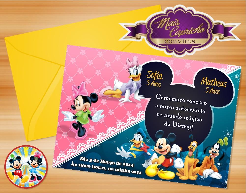 Aniversario De Texto: Convite Mickey E Turma Duplo No Elo7