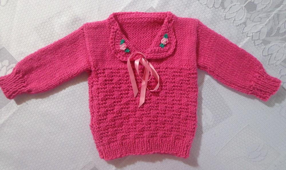 Blusa em tricô à mão p  bebê(2 anos) no Elo7   Roupas de bebê ... 059d3839de
