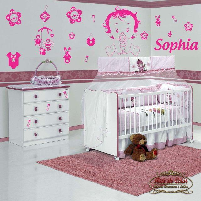 Adesivos Parede Mega Kit Quarto Bebê Arte de Colar  ~ Adesivos De Parede Para Quarto De Bebe Feminino