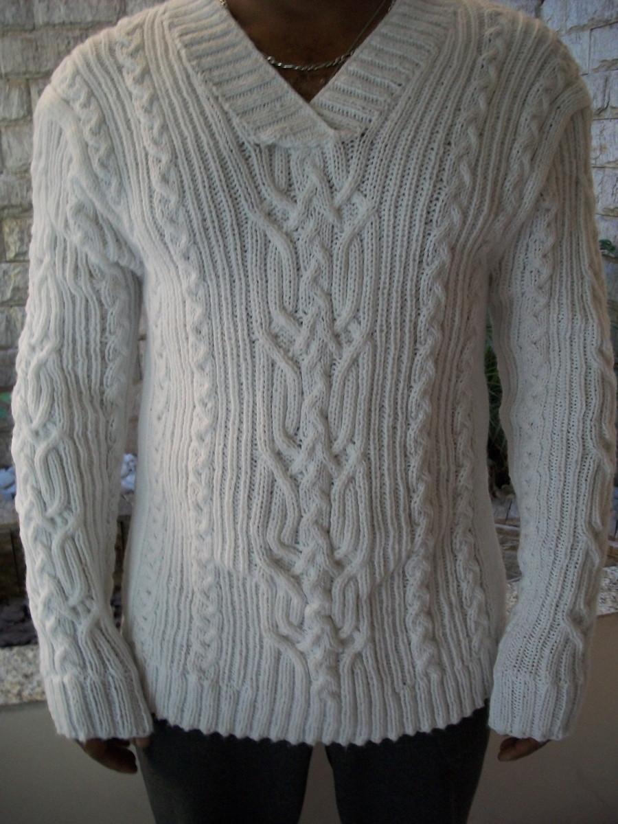 e82012a32e Blusa de trico masculina branca no Elo7