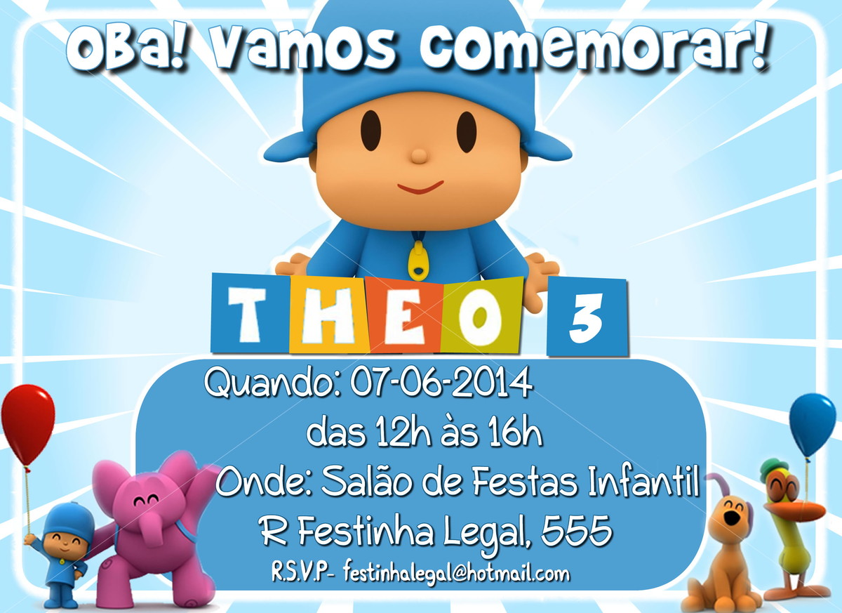Convite Virtual Pocoyo No Elo7