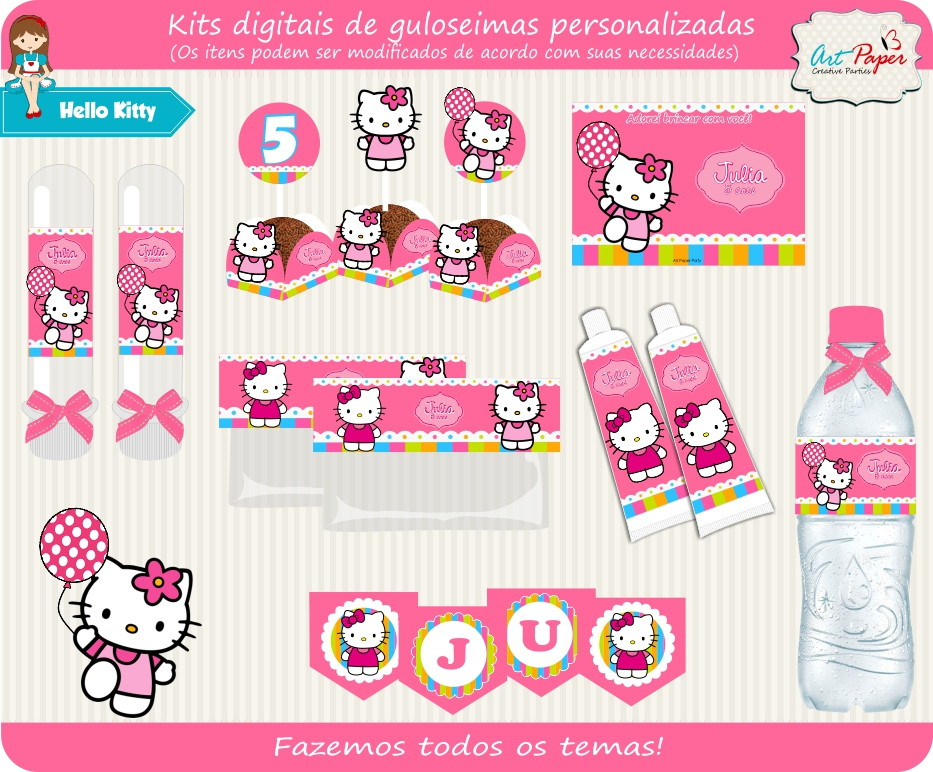 Kit Guloseimas Digital Hello Kitty No Elo7 Art Paper Creative