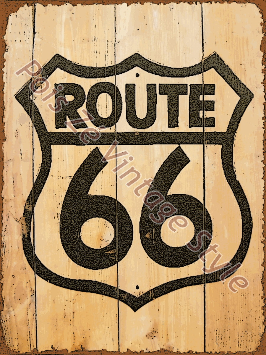 Placa vintage retr route 66 wood poisz artesanato elo7 for Imagenes retro vintage